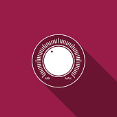 Dial knob level technology settings icon isolated with long shadow. Volume button, sound control, music knob with number scale, sound control, analog regulator. Flat design. Vector Illustration