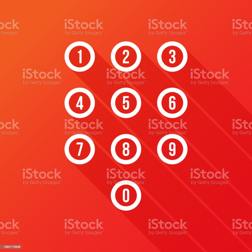Dial Pad Icon In Flat Style Isolated On Red Background Keypad Symbol