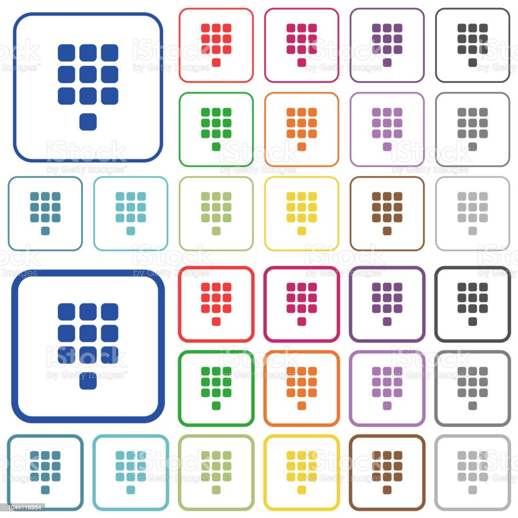 Dial Pad Outlined Flat Color Icons Stock Illustration - Download