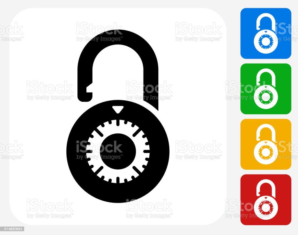 Dial Security Lock Icon Flat Graphic Design vector art illustration