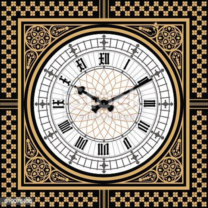 istock Dial Victorian clock in the style of Big Ben. Vector 619078438