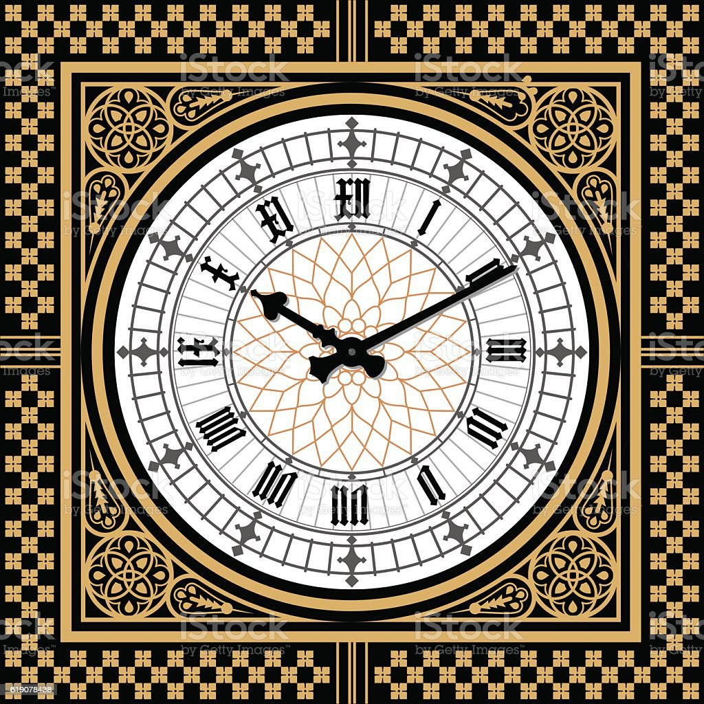 Dial Victorian clock in the style of Big Ben. Vector vector art illustration