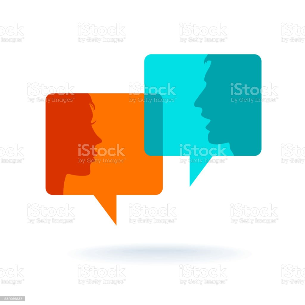 Dialog - Speech bubbles with two faces vector art illustration