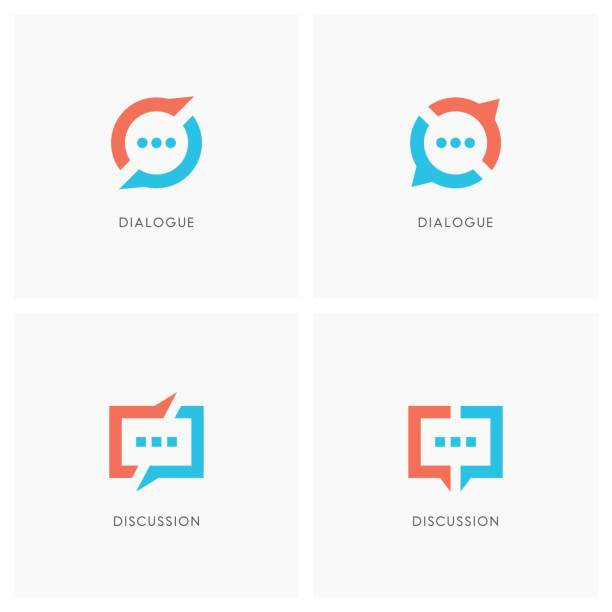 Dialogue and discussion symbol set Dialogue and discussion set. Split chat symbol, two speakers have a conversation  - communication, business and teamwork icons. debate stock illustrations