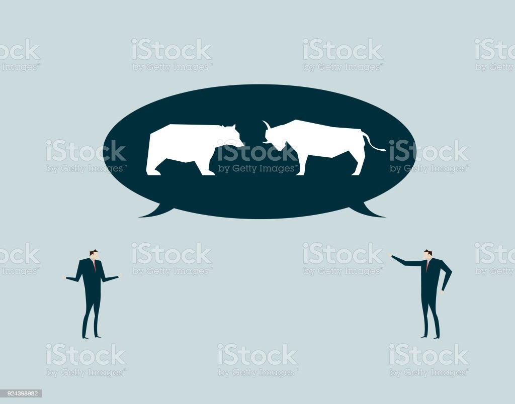 2 つのビジネス人、会話とコミュニケーション、議論と対立の間の対話します。 ベクターアートイラスト