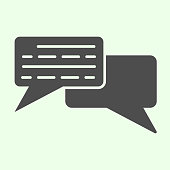 Dialogue solid icon. Square conversation bubbles glyph style pictogram on white background. Office and organization chat symbol for mobile concept and web design. Vector graphics