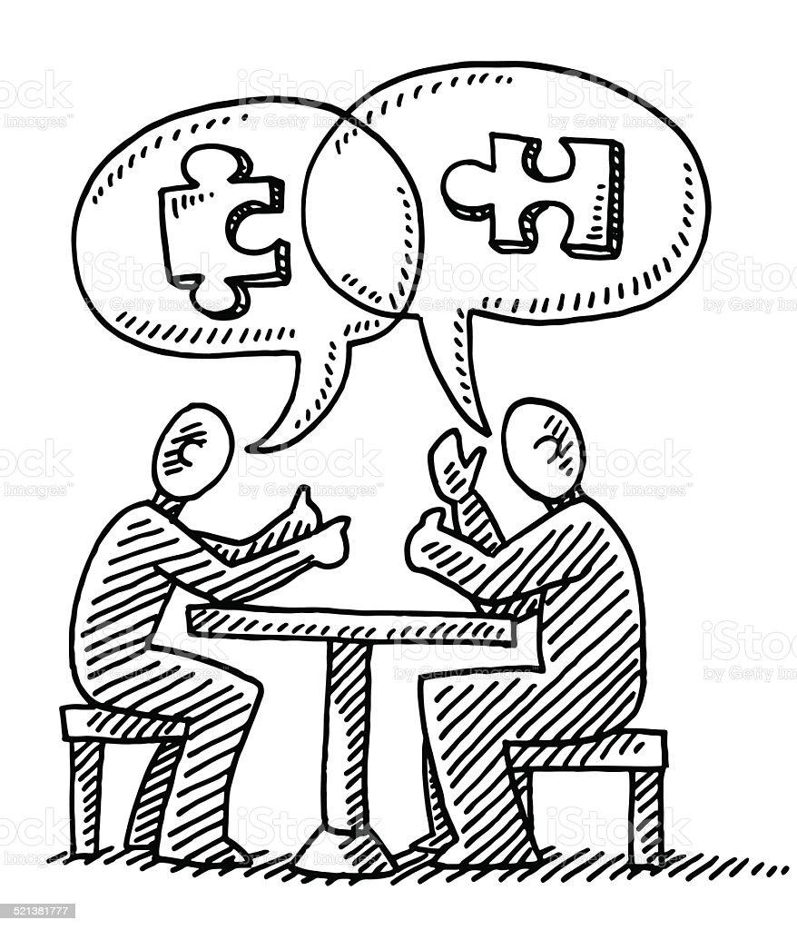 Dialogue de Bulle de Dialogue Pièce de puzzle dessin - Illustration vectorielle
