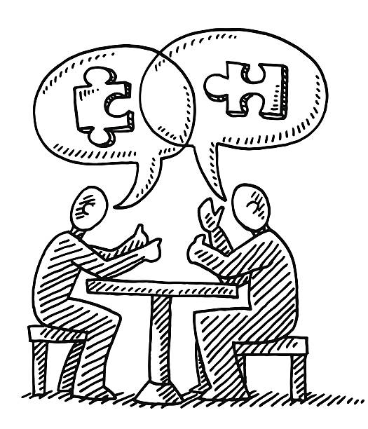 Dialogue Speech Bubble Jigsaw Piece Drawing Hand-drawn vector drawing of a Dialogue Concept Image with two People, a Speech Bubble, and Jigsaw Pieces. Black-and-White sketch on a transparent background (.eps-file). Included files are EPS (v10) and Hi-Res JPG. game stock illustrations