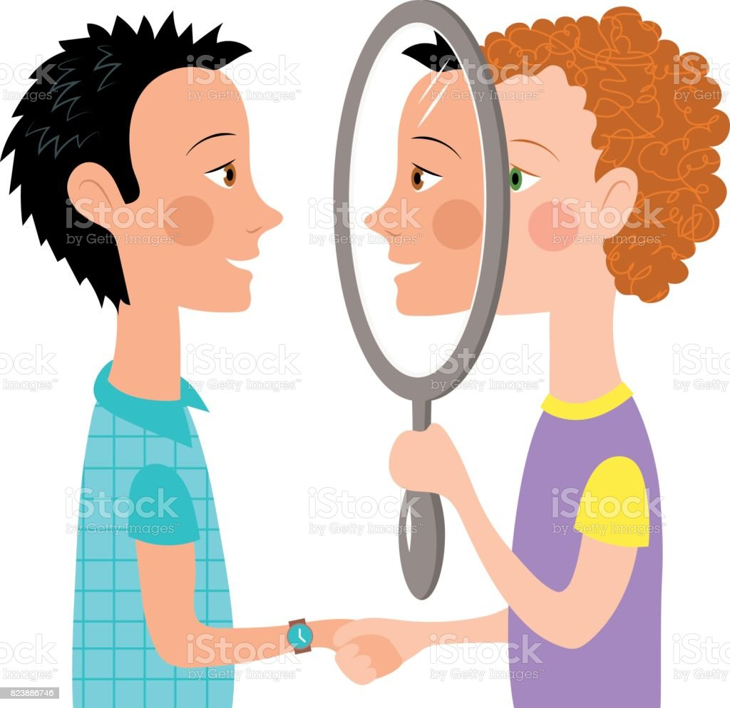 Dialogue two people mirror - Royalty-free Adult stock vector