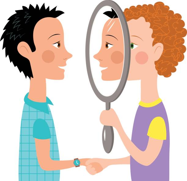 Dialogue two people mirror vector art illustration