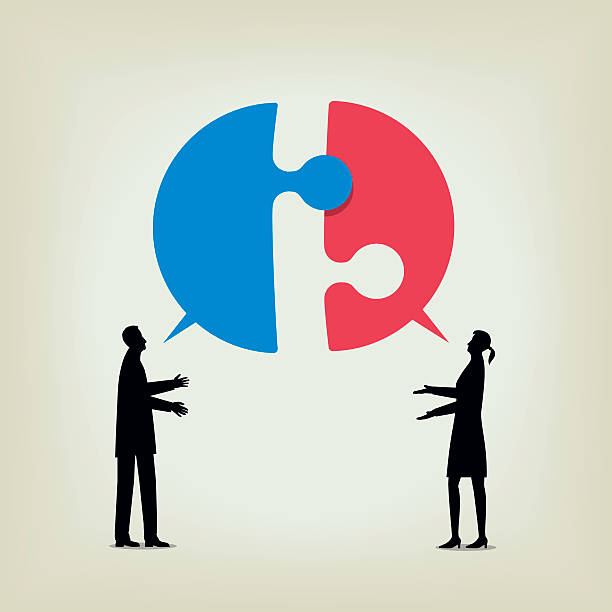 Dialogue Two people disagree and fail to communicate arguing stock illustrations