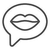 istock Dialogue with female lips line icon, valentine day concept, woman mouth with speech bubble sign on white background, lip in thoughts icon in outline style for web design. Vector graphics. 1287530091