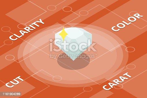 istock diamond 4c color cut clarity carat single isolated isometric style 1161904289