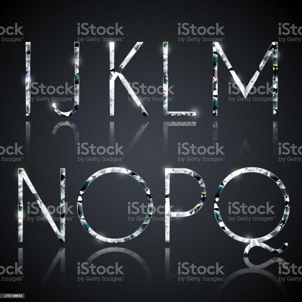 Diamond alphabet letters vector art illustration