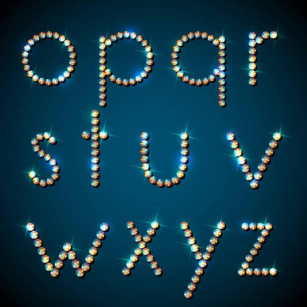diamant-alphabet mit sparkles. - modeschmuck stock-grafiken, -clipart, -cartoons und -symbole