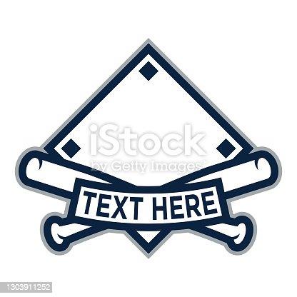 istock Diamond Banner Template with Baseball Bats 1303911252
