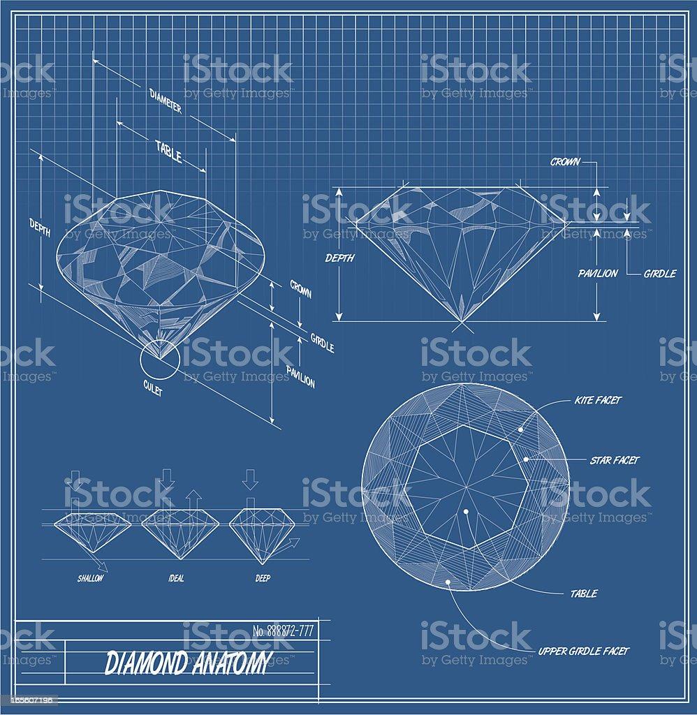Diamond Technische Zeichnung – Vektorgrafik