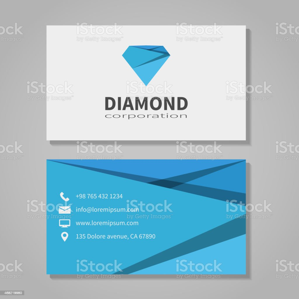 Diamond corporation business card template vector art illustration