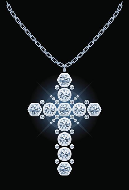 diamond-cross - kreuzkette stock-grafiken, -clipart, -cartoons und -symbole