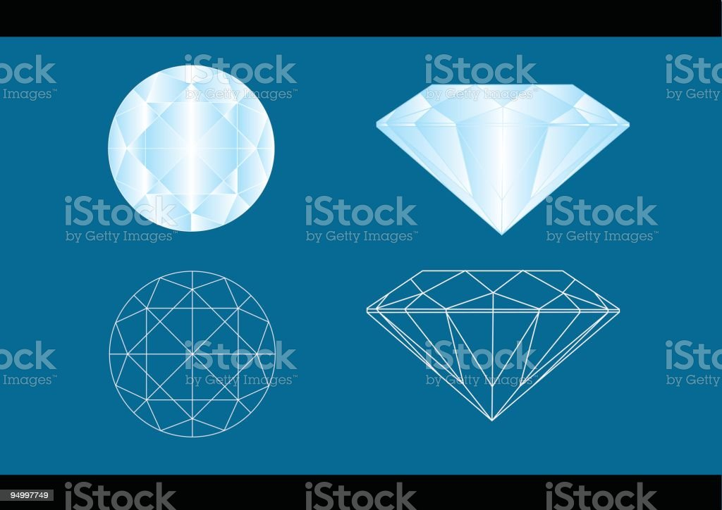 Diamond cut layouts in a blue background vector art illustration