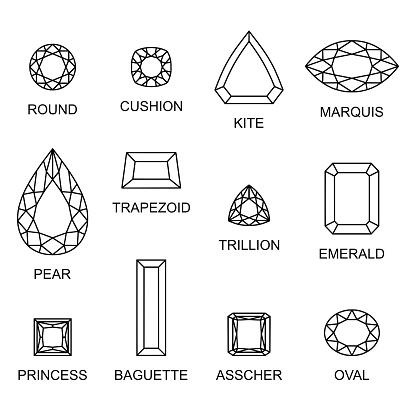 Diamond cut shapes vector illustration set