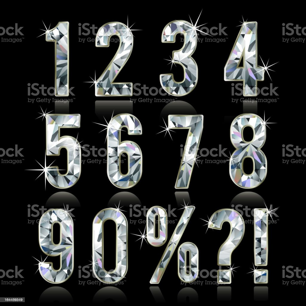 Diamond digits vector art illustration