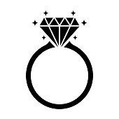 istock Diamond engagement ring icon isolated on white background 1128597873