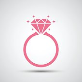 Diamond engagement ring icon