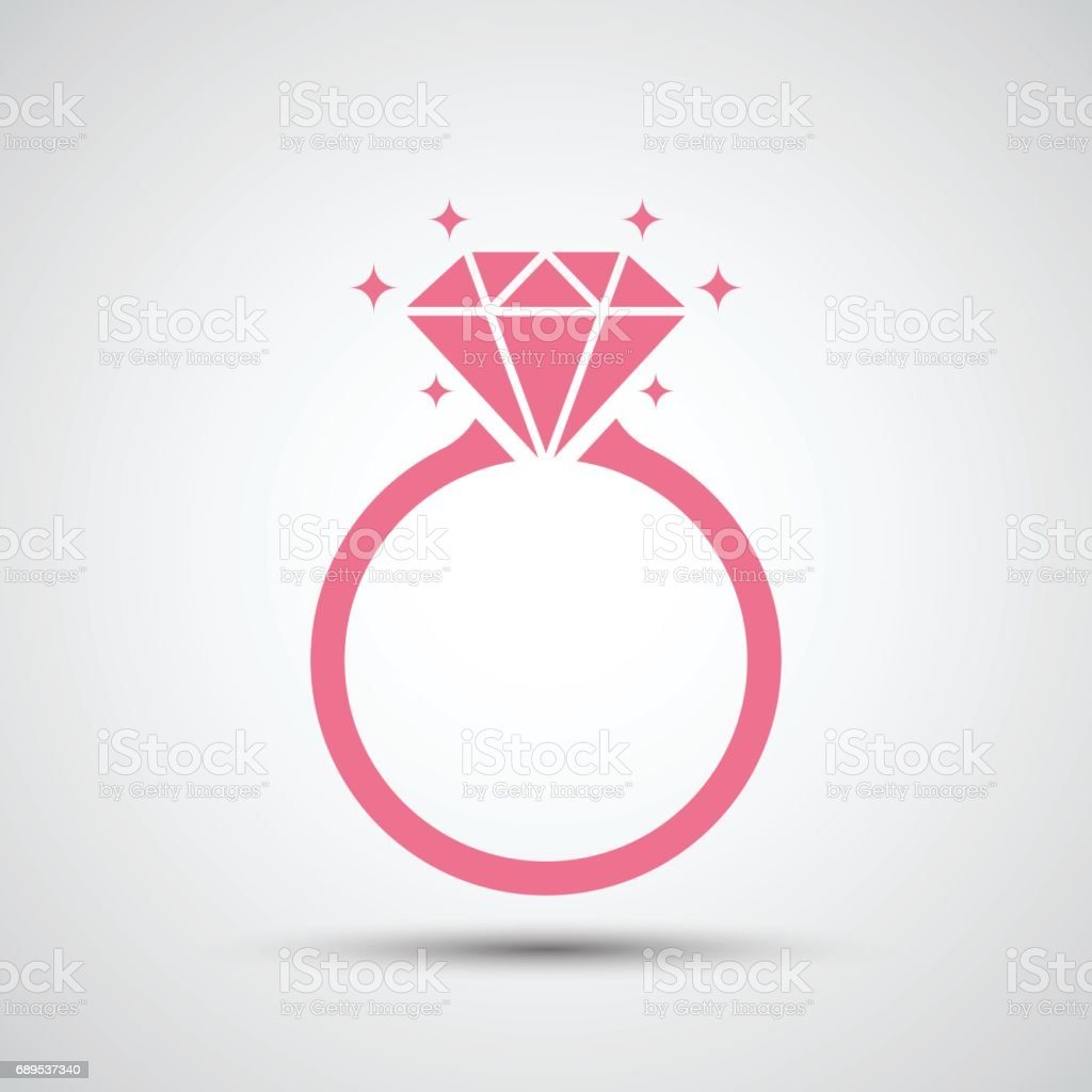 Diamond engagement ring icon vector art illustration