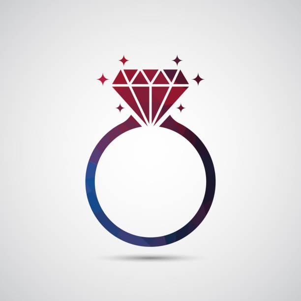 diamant-verlobungsring-symbol - trauring stock-grafiken, -clipart, -cartoons und -symbole