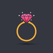 Diamond engagement ring icon, vector
