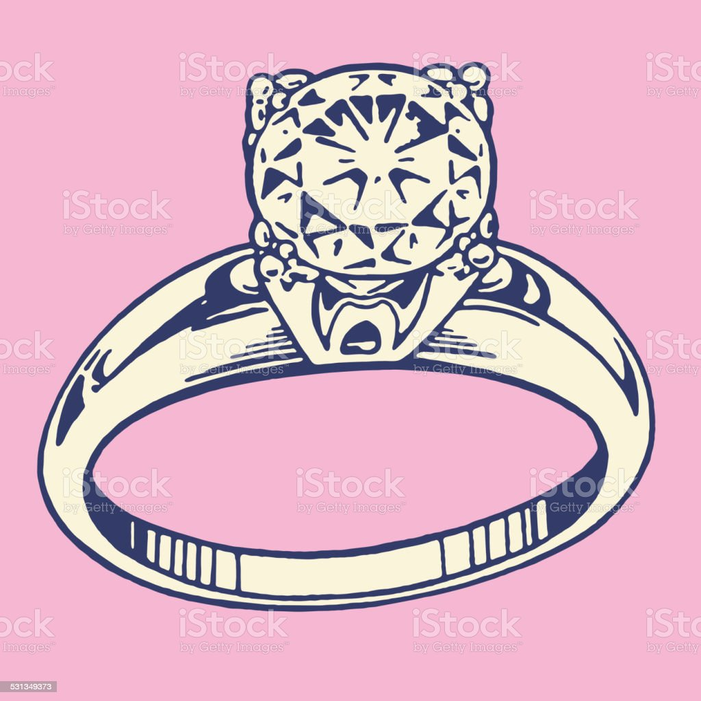 Diamond Engagement Ring Stock Vector Art & More Images of Gemstone ...