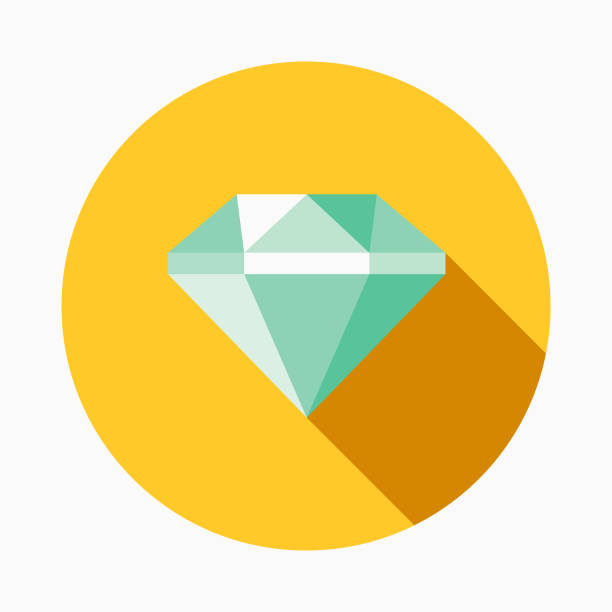 Diamond Flat Design Casino Icon with Side Shadow A flat design styled casino icon with a long side shadow. Color swatches are global so it's easy to edit and change the colors. diamond stock illustrations
