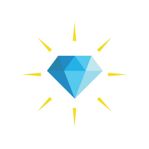 stockillustraties, clipart, cartoons en iconen met diamond plat pictogram illustratie - diamant