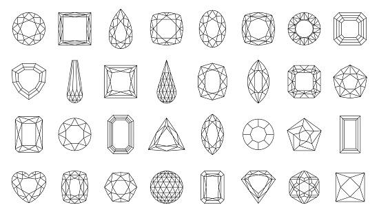 Diamond gem jewel gemstone line icon vector set