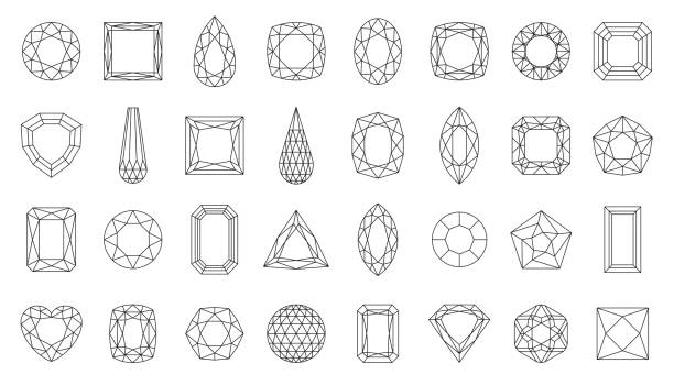 Diamond gem jewel gemstone line icon vector set Diamond faceting thin line icon set. Gem collection of simple outline signs. Jewel symbol in linear style. Crystal, gemstone black contour icons design. Isolated on white concept vector Illustration diamond stock illustrations