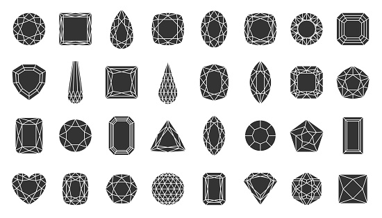 Diamond gem jewel stone silhouette icon vector set