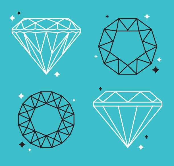 Diamond Gem Line Drawings Diamond line drawing concept illustrations. diamond shaped stock illustrations