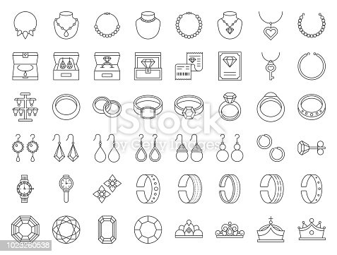 diamond, gemstones and jewelry related, thin line icon set