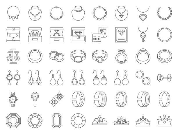 ilustraciones, imágenes clip art, dibujos animados e iconos de stock de conjunto de icono de línea fina, relacionados con diamantes, piedras preciosas y joyas - joyas