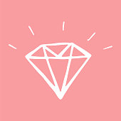 diamond hand-drawn icon. Vector illustration on a pink background.