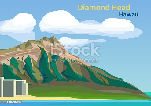 Diamond Head Crater on the Hawaiian island of Oahu, United States, vector illustration