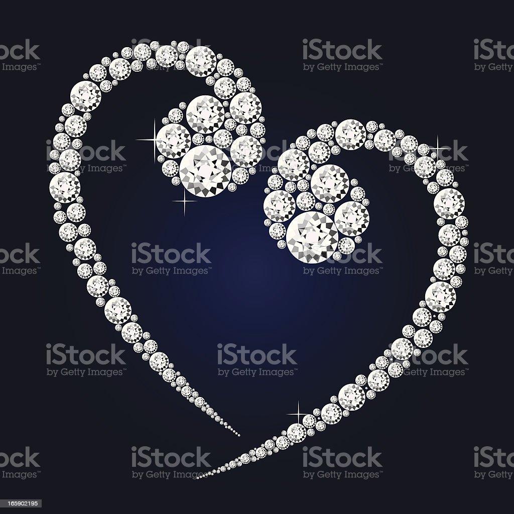 diamond heart shape vector art illustration