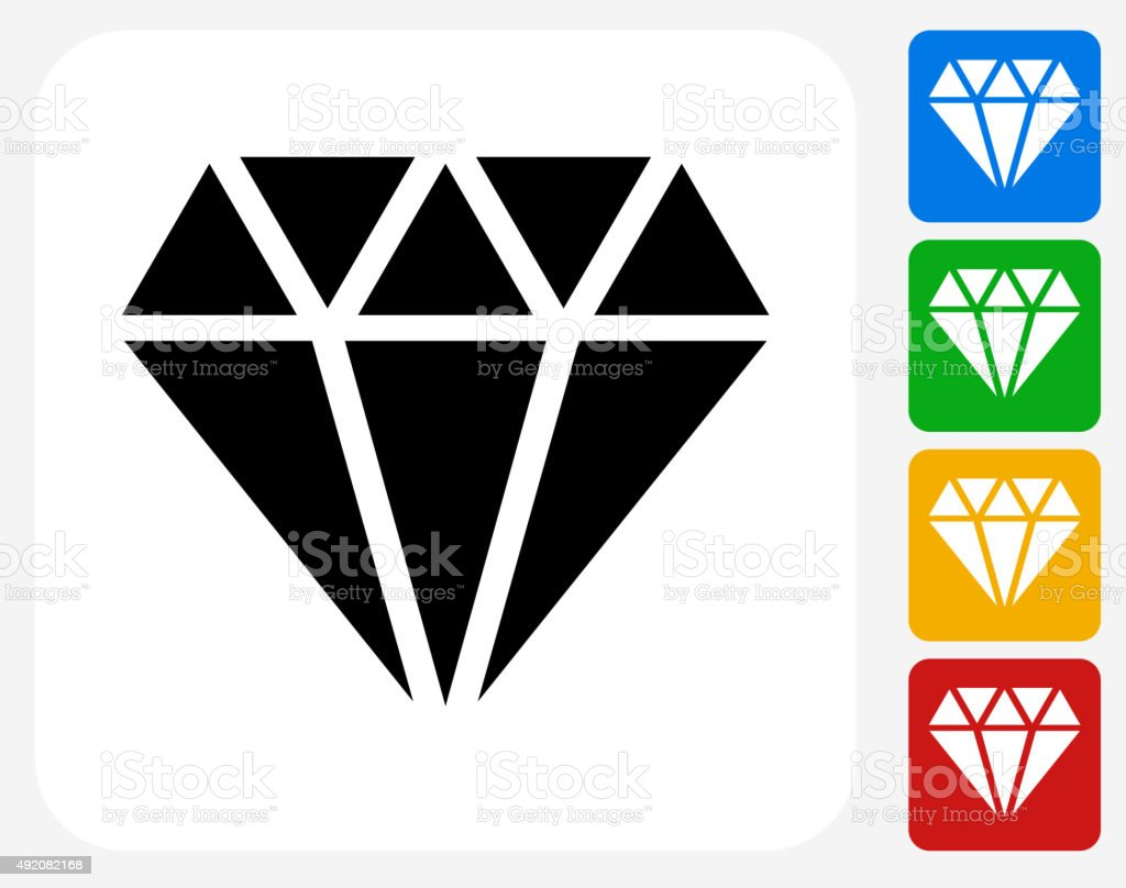 Diamond Icon Flat Graphic Design vector art illustration