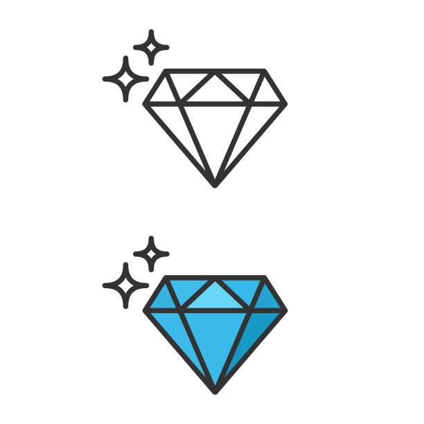 illustrazioni stock, clip art, cartoni animati e icone di tendenza di icona diamante. - brillante