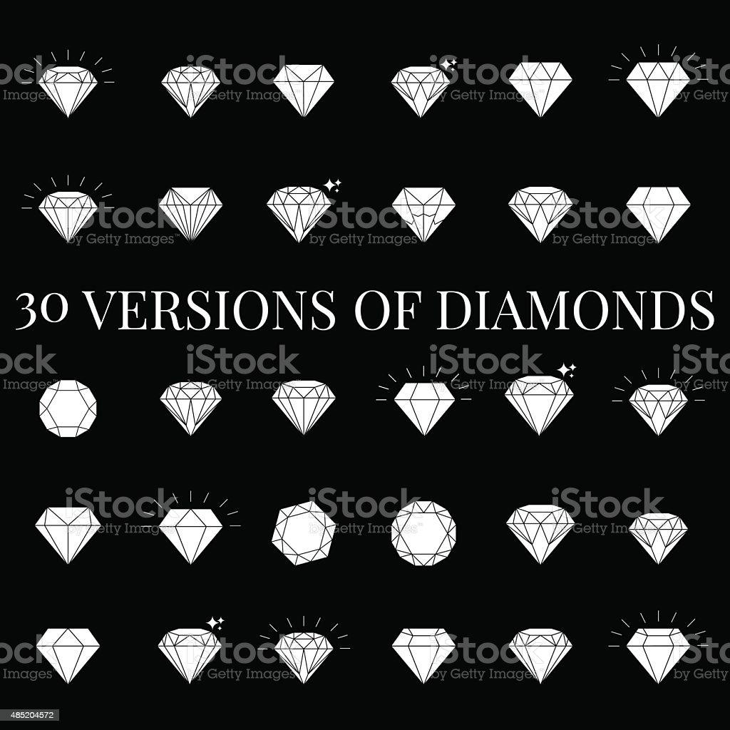 Diamond  icons set vector art illustration