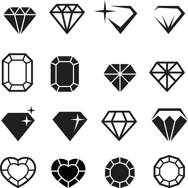 illustrations, cliparts, dessins animés et icônes de ensemble d'icônes diamant vector - bijou