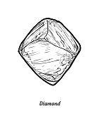 Diamond illustration, drawing, engraving, ink, line art, vector
