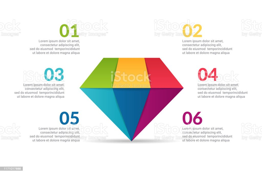 Diamond Infographic Design With Options Or List Infographic Of Fashion Business Concept For Presentations Banner Workflow Layout Process Diagram Flow Chart And How It Work Stock Illustration Download Image Now Istock