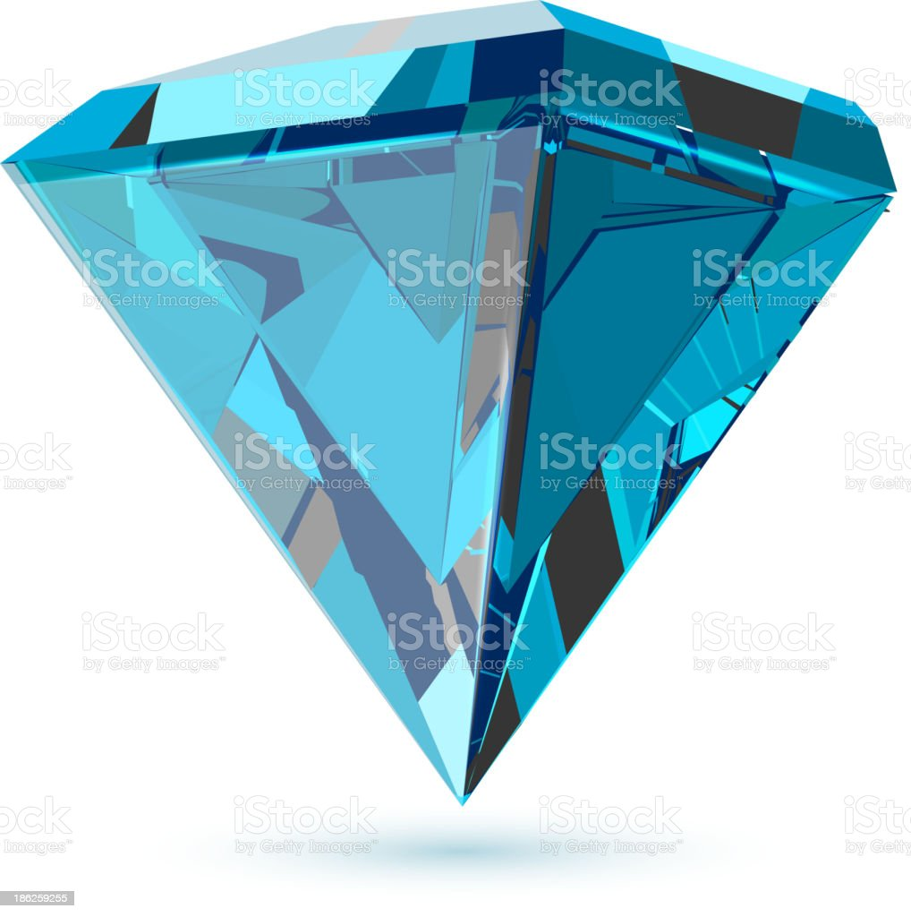 Diamond isolated on white vector art illustration